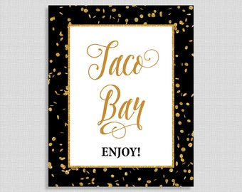 Taco Bar Sign, Black & Gold Glitter Shower, Birthday Party Sign, 8x10 inch, INSTANT PRINTABLE