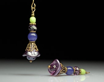 Bead Dangles Purple and Green Glass Flowers Pair PR153