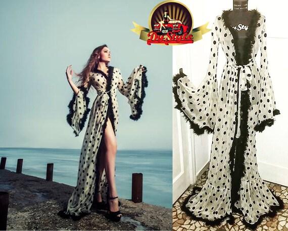 Polka Dots Morgenmantel Sexy Dessous Burleske Robe