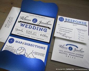 Ampersand & Typography Wedding Invitation Sample | Flat or Pocket Fold Style