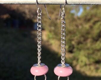 Pinky Mauve Blown Glass Dangle Earrings