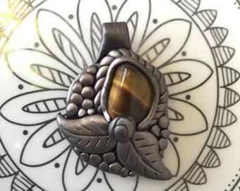 Tigers Eye Leaf Polymer Clay Pendant