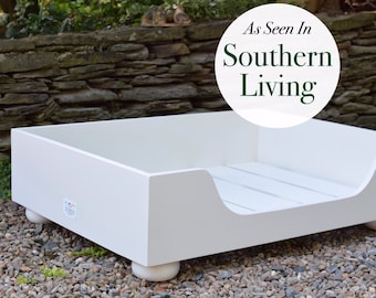 Large Wood Dog Bed || As Seen In Southern Living Magazine || Stylish Custom Pet Bed || Hand Made in the USA by Three Spoiled Dogs