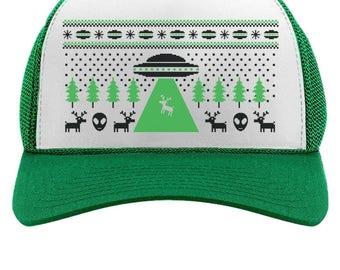 Alien Reindeer Abduction Ugly Christmas Trucker Hat Mesh Cap