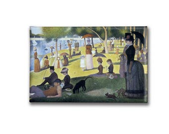 Seurat Sunday in the Park Print on Magnet or Mirror, Classic Art Magnet, Famous Painting, picnic in the park, gift for friend