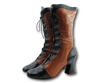 Vintage 60's SNO-MOUNT Brown & Black Two Tone Perf Cap Toe Mod Mid Calf Boots