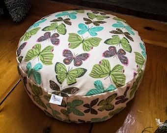 Pouf Zafu - Butterflies - Meditation cushion Reversible handmade by Creations Mariposa