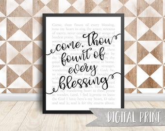 Come, Thou Fount of Every Blessing Print, Printable Wall Decor, Digital Print