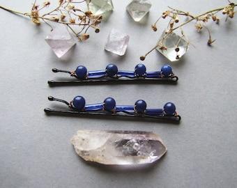 Navy Blue Bobby Pins Set, Romantic Woodland Hair Pins, Dark Blue Gemstone Bobby Pins, set of 2