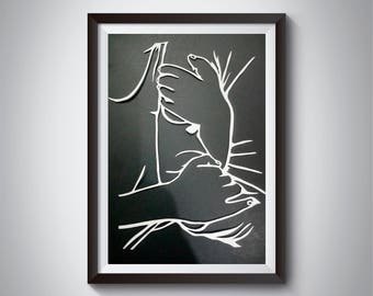 Couple Holding Hand Paper Cutting
