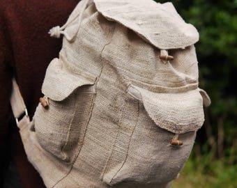 Natural Hemp Backpack ~ Zero Plastic-free Rucksack Eco Sustainable Environmentally Friendly Hippy Boho Vegan Bag