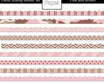 Pink and Brown Camo Scallop Border Set- Camouflage and Coordinating Prints Border Set - Instant download - Pink and Brown