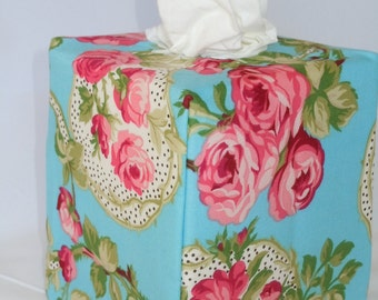 """Ready To Ship - """"Flirt Rose Print on Teal Background """" -  Tissue Box Cover"""