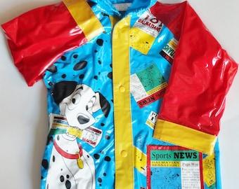 1 Vintage UNISEX Disney 101 Dalmatians Kids Raincoat - Blue Red Yellow, Toddler Jacket, Boys Girls, Unisex, 90s Cartoon Childrens Clothing