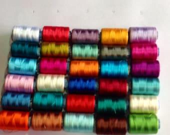Tassel Making ,Viscous Silk Thread, 25 Spools Wholesale  Indian Silk Thread, Art Silk Thread, Hand And Machine Embroidery Thread