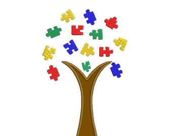 Autism Awareness Tree and Jigsaw Applique & Embroidery Design in 3 Sizes