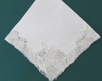 SWISS LACE HANKY 1920s Bridal