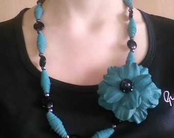 Flower Necklace, Leather Necklace, Turquoise Necklace, Long Necklace, Bridesmaid Jewelry, Gift For Her, Beaded Necklace, Italian Handmade.