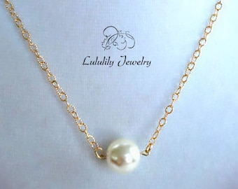 Solitaire Pearl, Pearl Necklace, Cream Pearl, Gold Pearl Jewelry, Classic Bridal