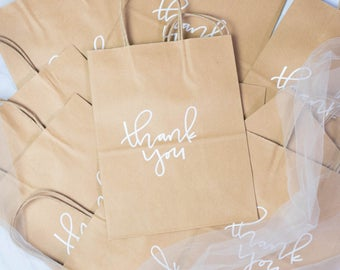 Thank You Bags // Wedding Gift Bags // Calligraphy Hand Lettered Gift Bags // Wedding Favors