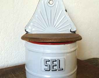 1930s French Vintage White Enamel SEL container