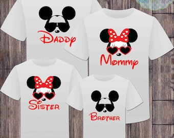 Matching Disney Family Vacation Tshirts - Mickey Minnie Mouse Sunglasses - Disney Inspired - Matching Vacation Shirts - Minnie Mouse