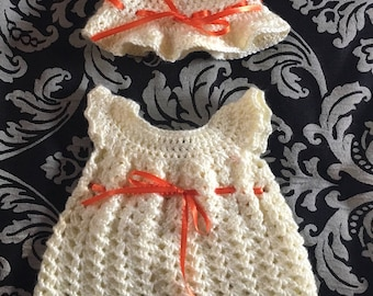 Crochet Baby Girl Shell Dress and hat