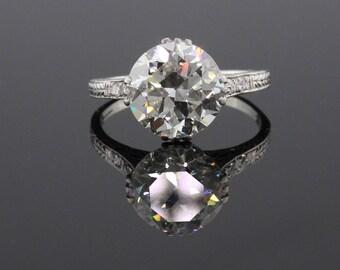 Circa 1910 - Antique Edwardian Platinum & Diamond Engagement Ring - GIA!