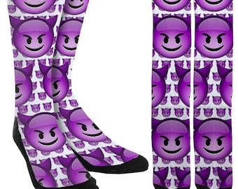 Devil Emoji Socks - Devil Socks - Novelty Socks - Unique Socks - Funny Socks - Crazy Socks - Groomsmen Socks -Crew Socks - FREE Shipping B97