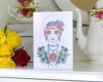 Red haired girl with ivy and blossom tattoo luxury handmade birthday card