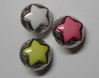 10 Round Buttons with colorful star  Made in Italy