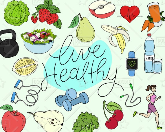 healthy lifestyle clipart vector pack live healthy graphics rh etsy com healthy clip art free healthy clipart