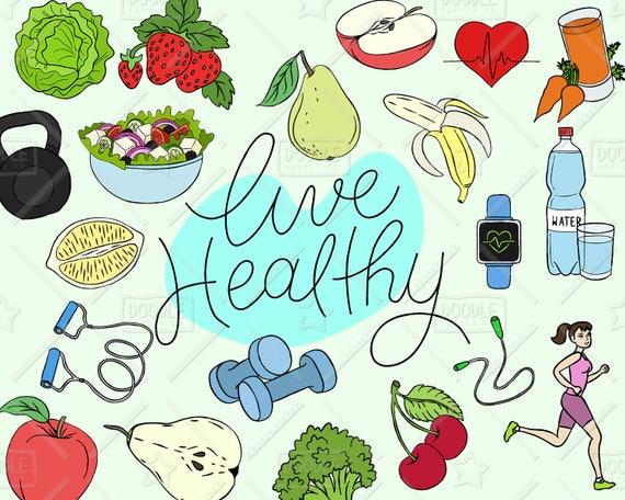 healthy lifestyle clipart vector pack live healthy graphics health rh etsystudio com healthy clip art health clip art free