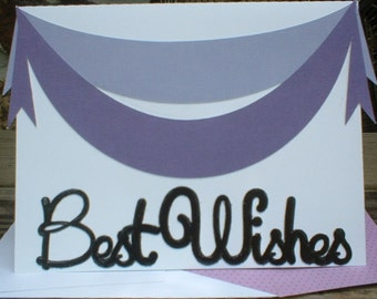 Purple and Lavendar Best Wishes Banner Greeting Card