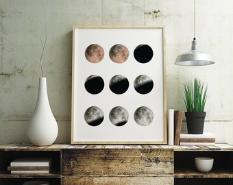 Lunar eclipse Moon Poster, Art, print, wall decor, 5 x 7 inch, 8 x 10 inch, 11 x 14 inch