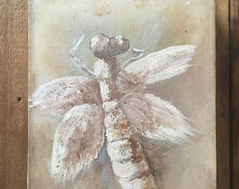 Oil painting dragonfly on hand dyed cotton fabric, Eco-dyed, Eco-preserved