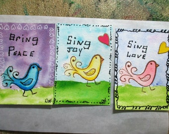 Original ACEO, Whimsical Birds, Watercolor Painting, Collectible Art, OOAK