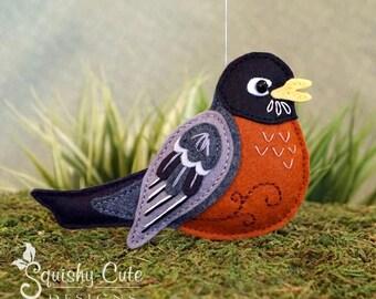Robin Sewing Pattern PDF - Backyard Bird Stuffed Ornament - Felt Plushie - Rubin the Robin - American Robin - Instant Download