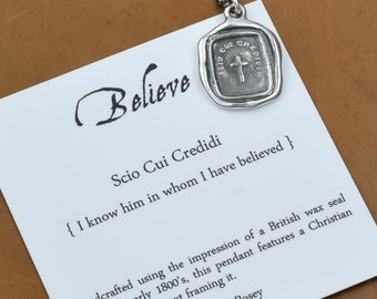 Christian Necklace - Christian Cross Jewelry made from an antique wax seal - Jewelry from Plum and Posey - 237