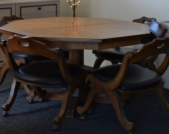 Vintage Super Rare Octagon Oak American Table w/leaves and chairs COLLECTOR'S ITEM