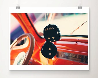 vintage car photograph travel photography Reno photograph retro dice photograph wanderlust art vintage car print Reno print