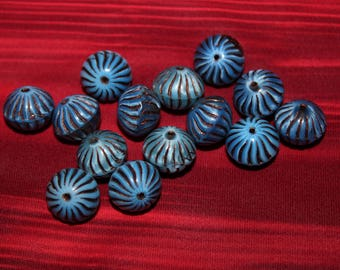 Donut 12x6mm shiny blue lagoon / old patina (2pcs)