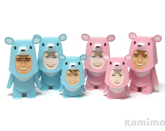 Printable Paper Craft PDF / KIGURUMMY - Bear Family (pink and cyan)