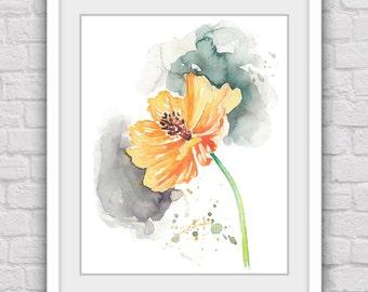 Orange flower art prints, Digital watercolor prints, Flower prints, Digital art, Modrern art print, Flower wall decor, Printable home decor