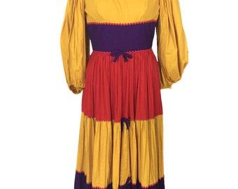 vintage 1970's color block prairie dress / Hartsville / yellow purple red / cotton / peasant dress / women's vintage dress / tag size 11