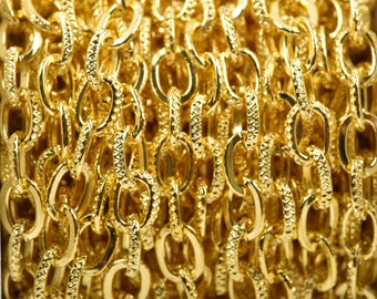 1 yard Bright Gold Plated Cable Chain, Oval Links are 9x6mm unsoldered, half textured design, fch0505