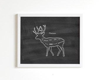 Venison Meat Cuts Butcher Diagram Chalk Art