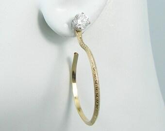 EARRING JACKETS, Gold Filled Drop Hoop Jackets, Diamond Stud Ear Jacket, Jacket for Post Earrings, Pattern Wire  Dangle JHPATT30MGF