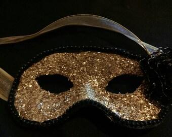 Gold glitter half face masquerade mask