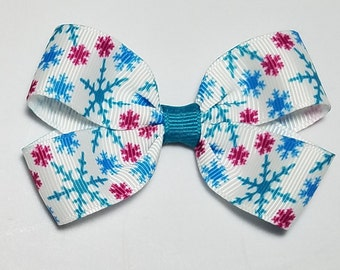 "Snowflake Hair Clip 3"" Snowflake Pigtail Bow Blue Teal Pink Snowflake Christmas Bow Alligator Clip French Barrette Elastic Ponytail Holder"